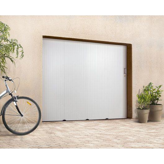 Porte De Garage Coulissante Sans Hublot Primo Pvc Blanc 200 X 240cm Porte De Garage Coulissante Porte Garage Garage