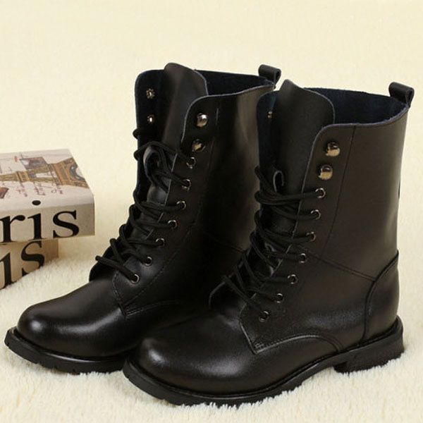 black boots,Leather Rivet biker boots,womens motorcycle boots