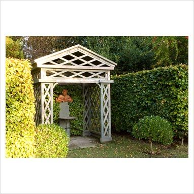 GAP Gardens   Wooden Gazebo And Sculpture. Silverstone Farm, Norfolk,  October   Image No: 0232469   Photo By Marcus Harpur