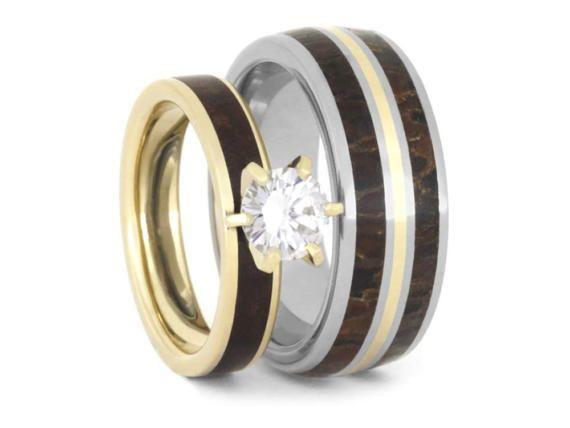 Dinosaur Bone Wedding Ring Set Moissanite Engagement Ring With