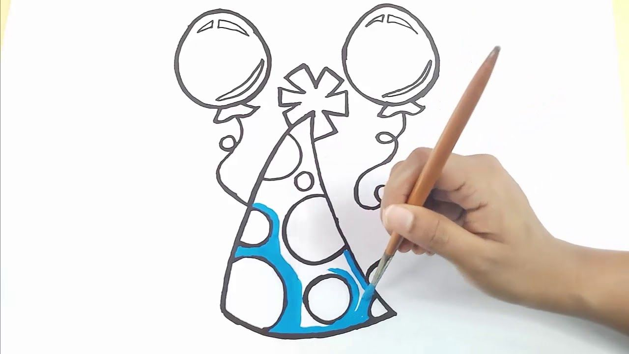 Draw Party Birthday Hat Easy And Cute Birthday Cap Coloring Pages