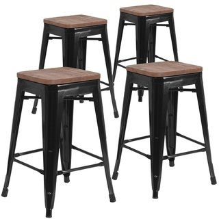 Fabulous 4 Pk 24 High Backless Metal Counter Height Stool With Squirreltailoven Fun Painted Chair Ideas Images Squirreltailovenorg