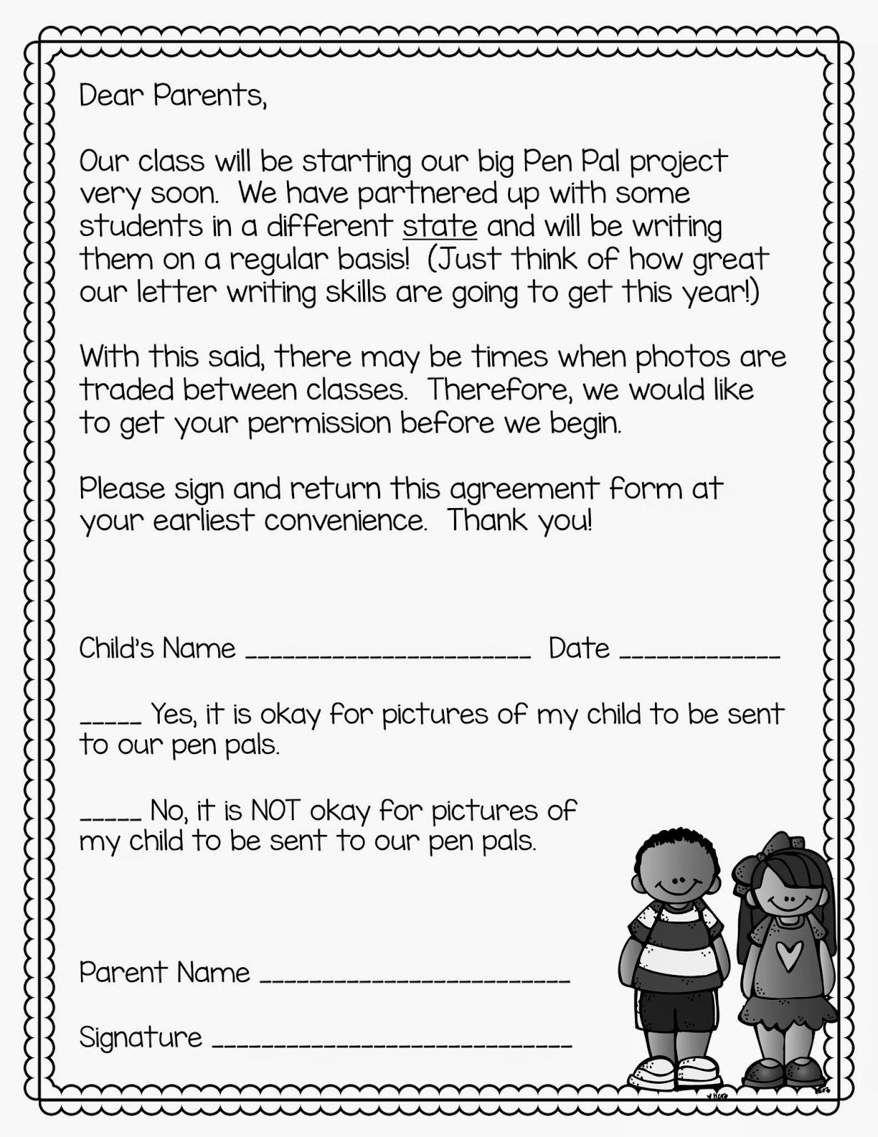 Classroom pen pals tips and tricks for the year classroom penpal parent letter for photographic permission aljukfo Choice Image