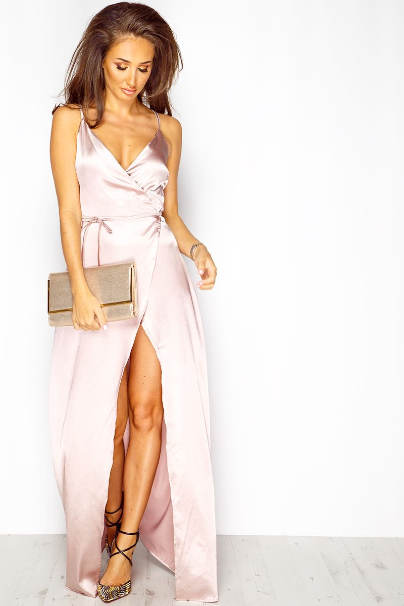 f3da756f3b7 Megan McKenna Rose Silk Maxi Wrap Dress