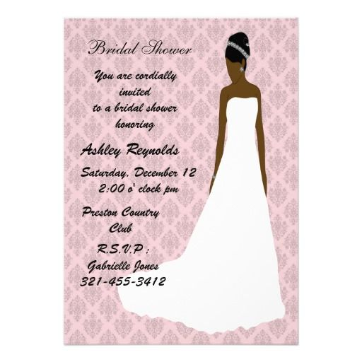 African american bride, Bridal Shower Invitations