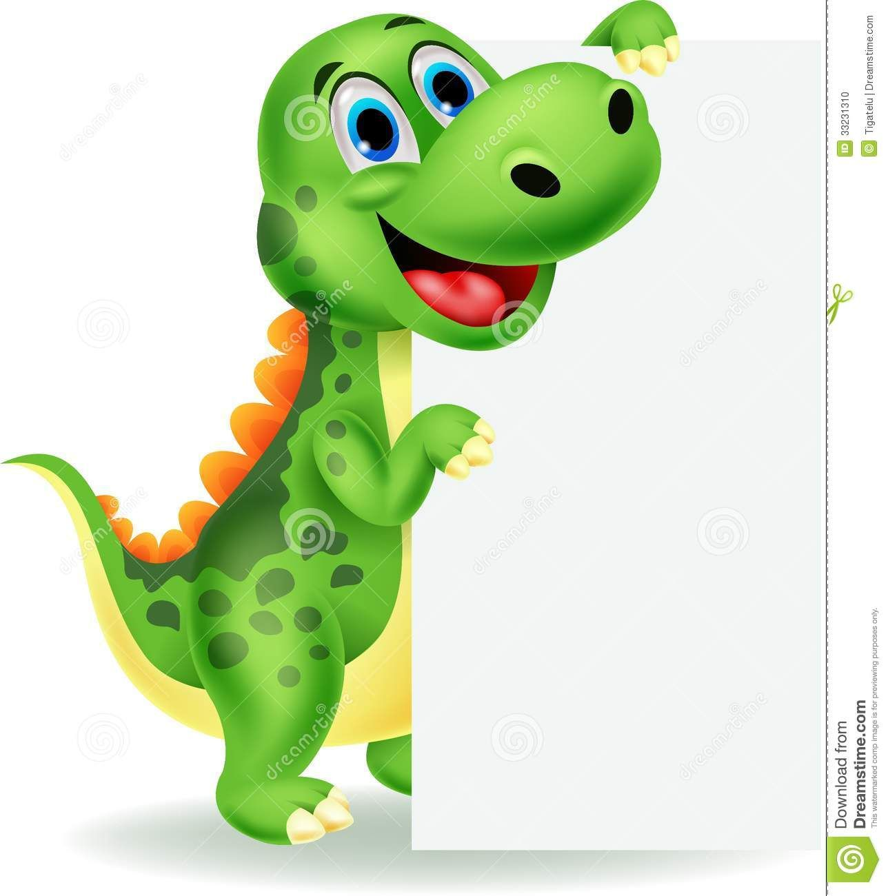 Cute Dinosaur Cartoon With Blank Sign Download From Over 52