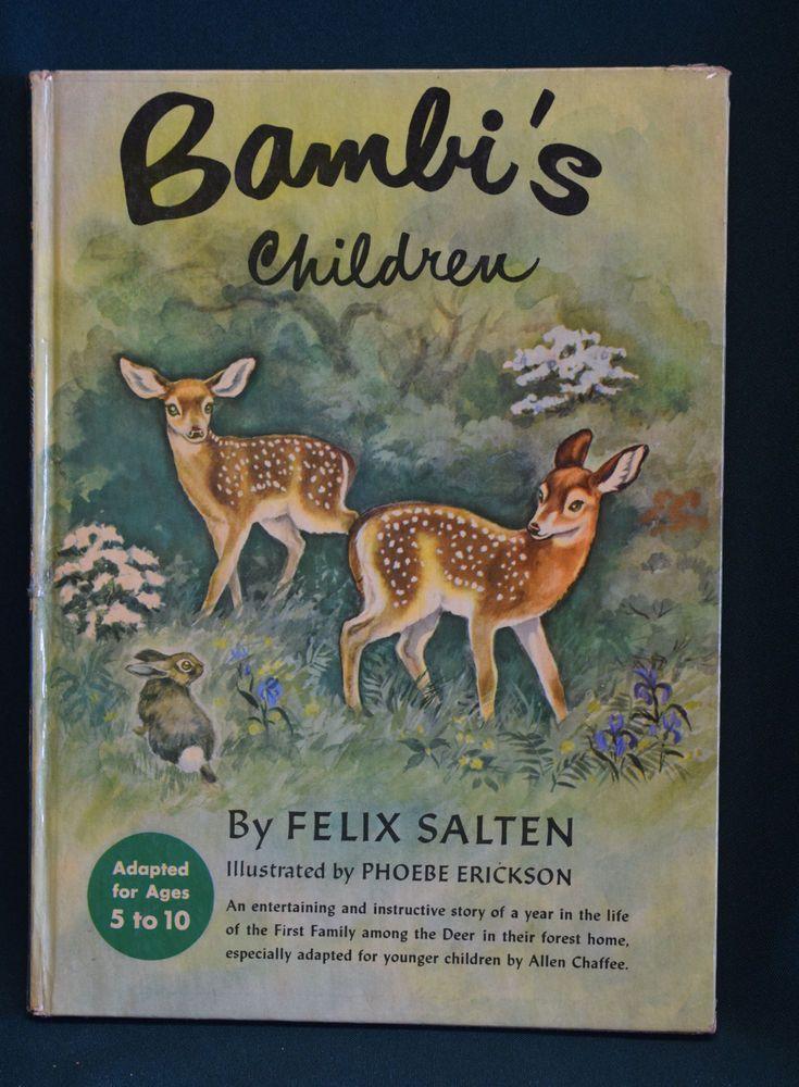 1950 Large HC Book Bambis Children by Felix Salten illus