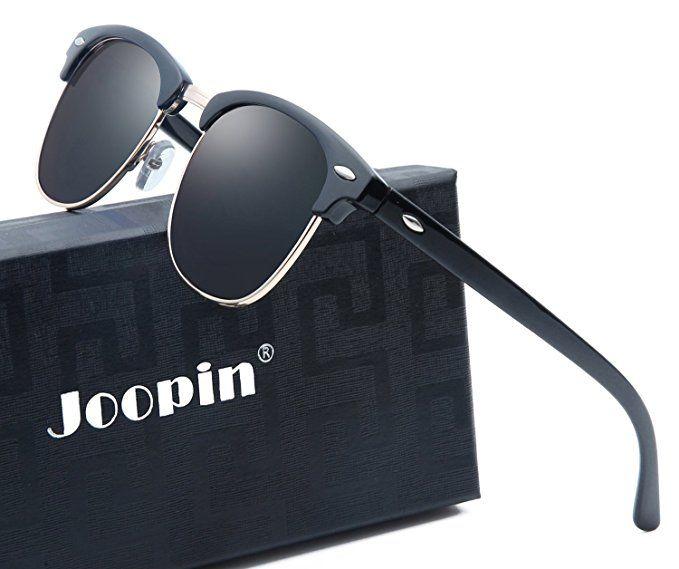 ae36d35a09e Joopin Semi Rimless Polarized Sunglasses Women Men Brand Vintage Glasses  Plaroid Lens Sun Glasses (Brilliant Black Frame Grey Lens)