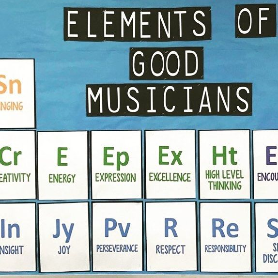 Elements of Good Musicians #bulletinboard This display is SO easy to get on your wall! An ink saving version (pictured) and a full color version are included. But BE WARNED: this might make your room a little STEAMy. :-)   #Regram via @thebulletinboardlady
