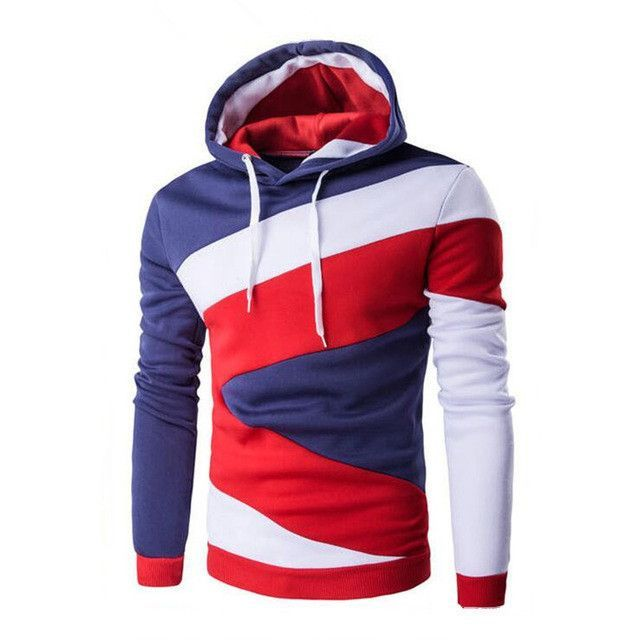New 2016 Spring Autumn Mens Casual Slim Fit Hooded Hoodies Sweatshirt Sportswear Male Patchwork Fleece Jacket 5 Colors M-XXL