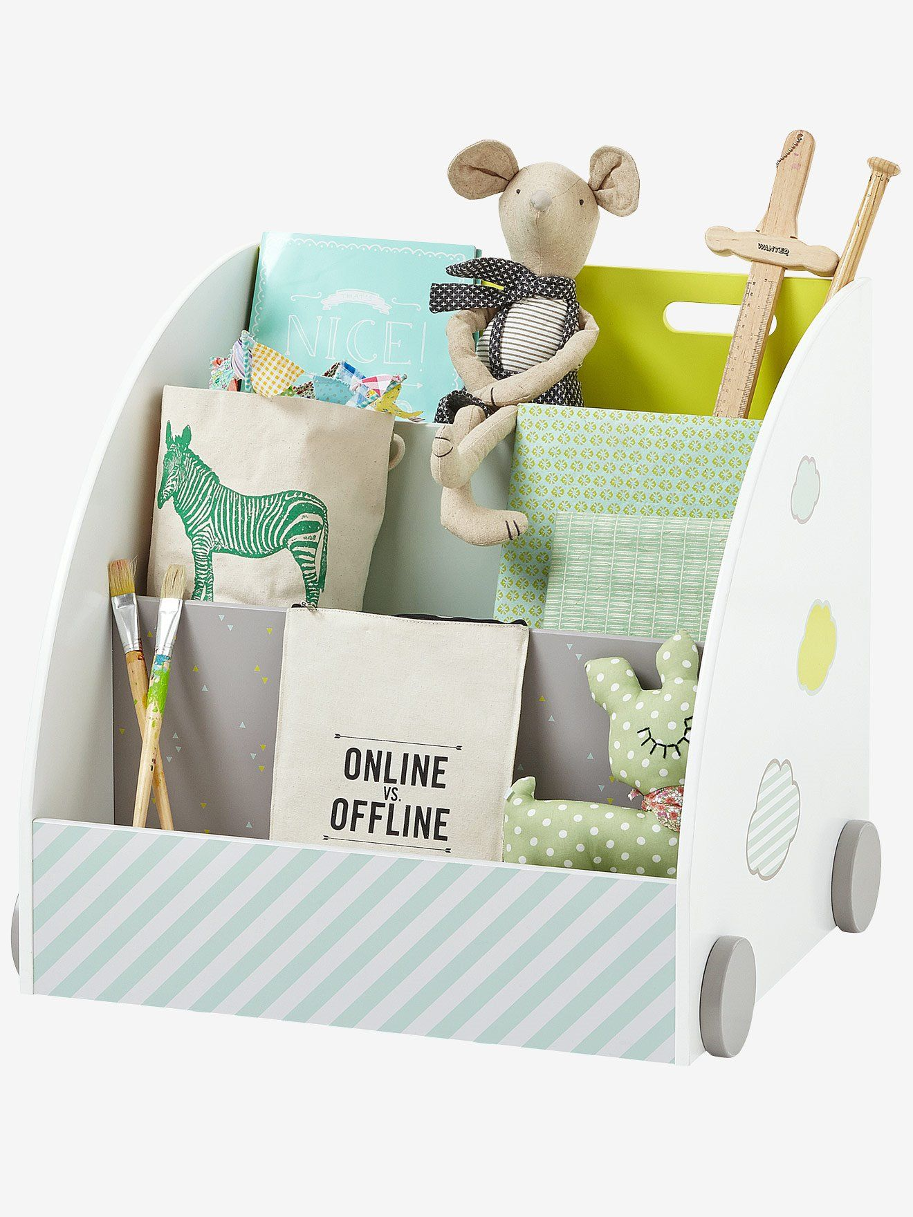 Bibliotheque A Roulettes Pic Nic Blanc Vertbaudet Playroom Storage Playroom Storage Diy Kids Room Furniture