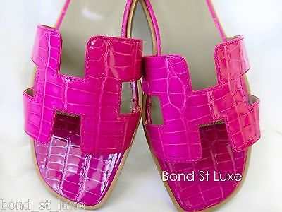 2122cb4311ec Sweet New Hermes Oran H Sandals Slippers Pink Croc Framboise Flats 39 9 8 5