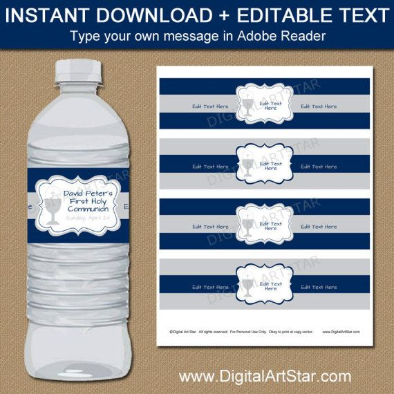 1st Communion Water Bottle Label Template, First Holy Communion