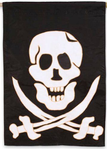 Pirate Flag by Evergreen. $23.69. Pirate themeDurable, fade resistant28 x 40 inches. A true coastal delight! This tribute to the subtle pirate in all coastal lovers is a fun flag to hang on your boat, your lake home, or for Pirate Parties. Excellent quality and double sided to show off the Jolly Roger for traffic on either side. Make an impression! These beautiful, brightly colored, creatively designed flags are the perfect way to greet someone to your home or gard...