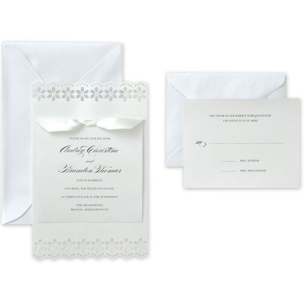 White Flower Printable Wedding Invitations Kit 50ct Wedding Invitation Kits Printable Wedding Invitation Kits Party City Invitations