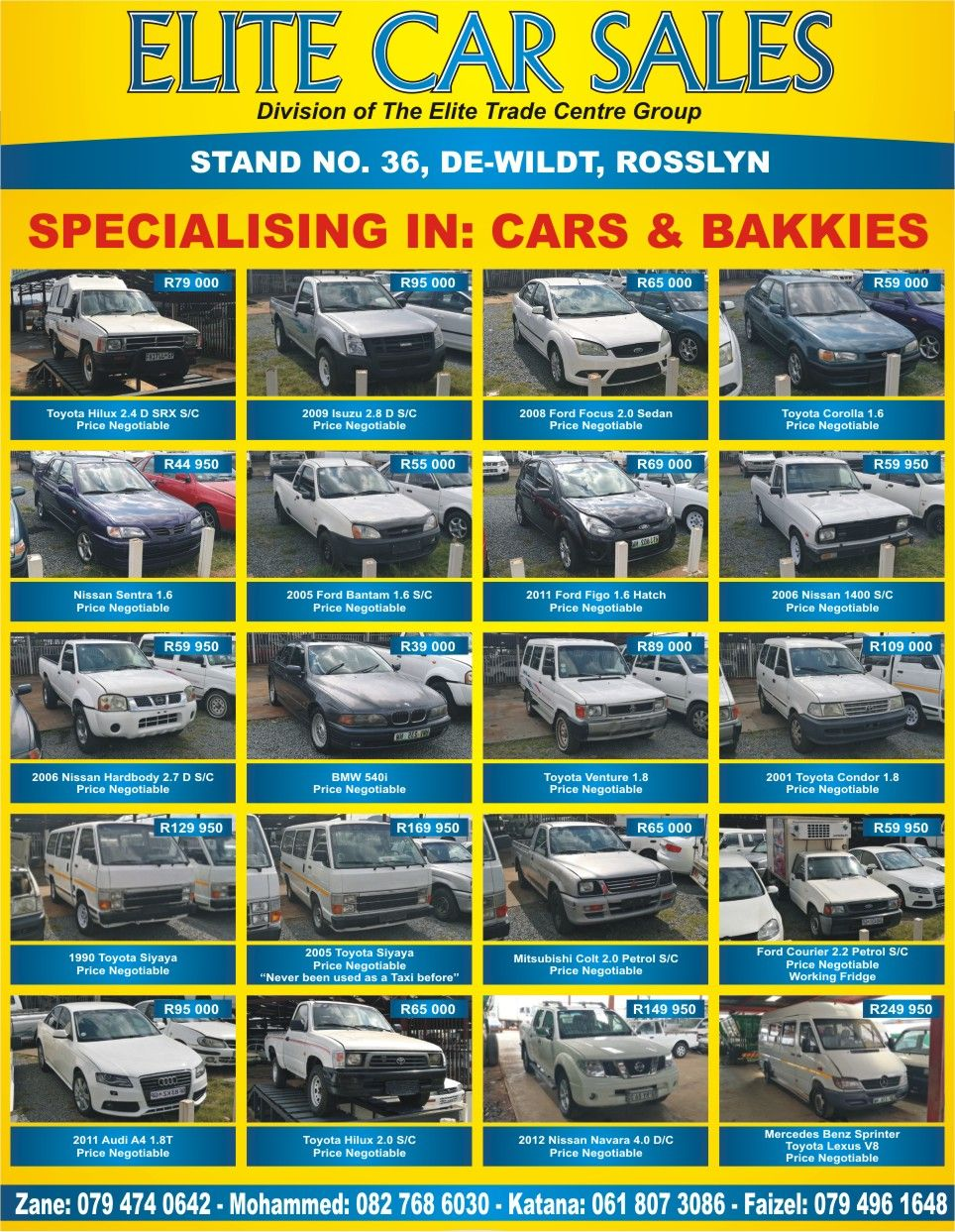 Specializing in cars and bakkies at elite car sales division of the