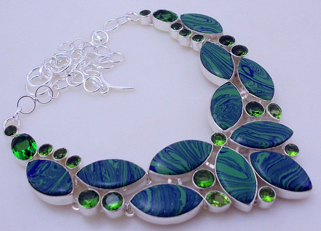 free shipping F-288 Mosaic Jasper-Peridot  .925 Silver Handmade Jewelry Necklace 93 Gr. by SILVERHUT on Etsy