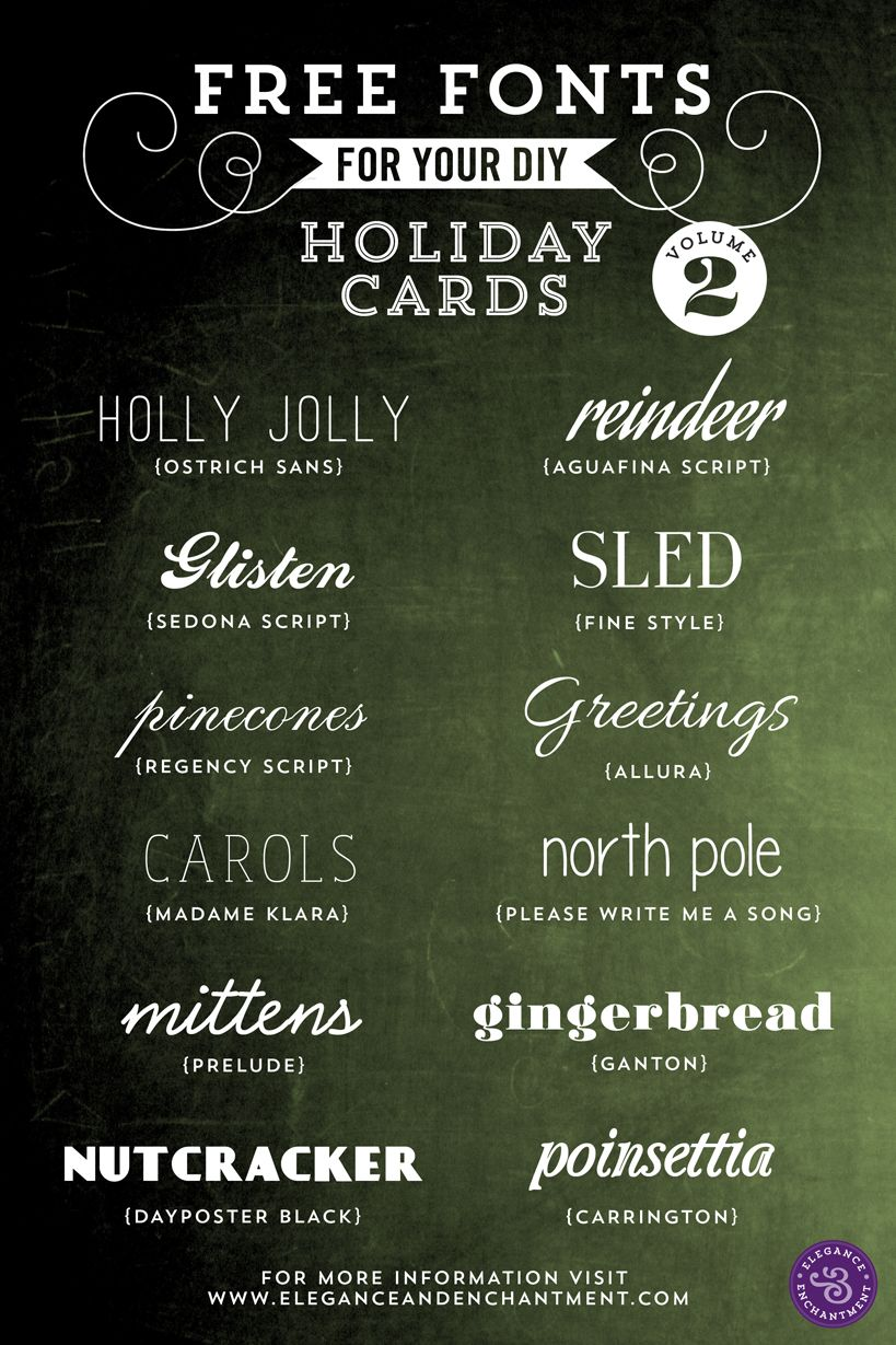 Free Fonts for DIY Holiday Cards - Volume 2 | Christmas | Pinterest ...