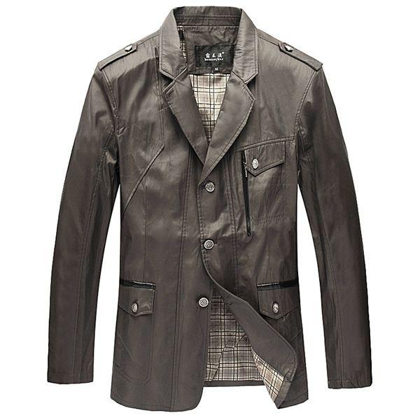 Sale 15% (59.46$) - Middle agedMen Plus Size Leisure Suit Button Turn-Down Collar Casual Jacket