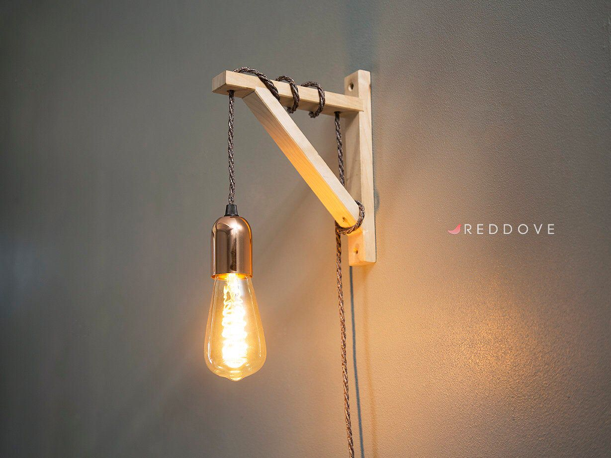 Wooden Wall Bracket Sconce With Plug In Light Pendant Etsy Plug In Wall Lights Pendant Wall Lights Plug In Pendant Light