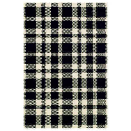 Stylishly anchor your living room or master suite with this flatweave cotton rug, showcasing a plaid motif in black and white.       Pro...