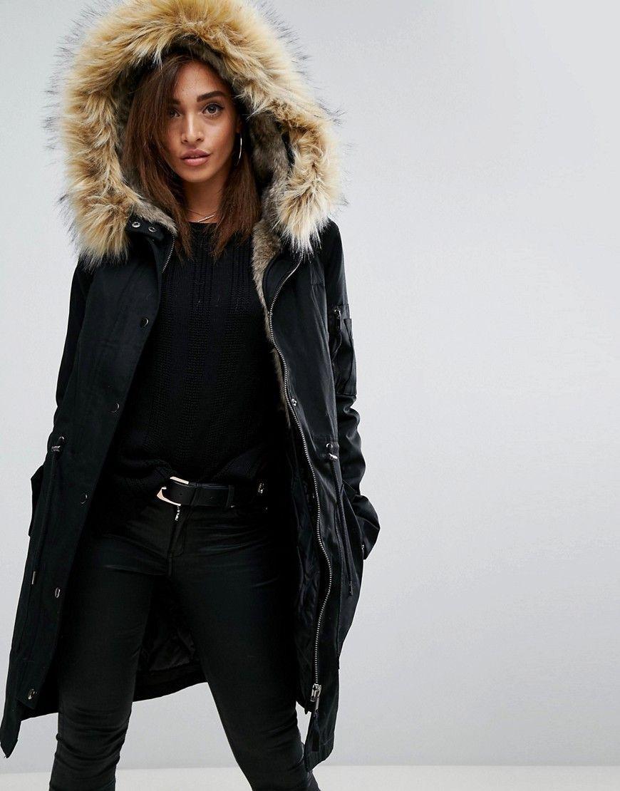 9feac2f586f9 ASOS Parka with Detachable Faux Fur Liner - Black