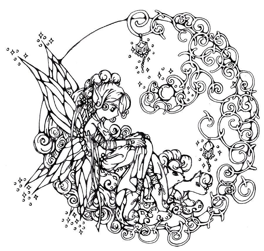 Adult Printable Coloring Pages Fairy | Coloring Book | Pinterest ...