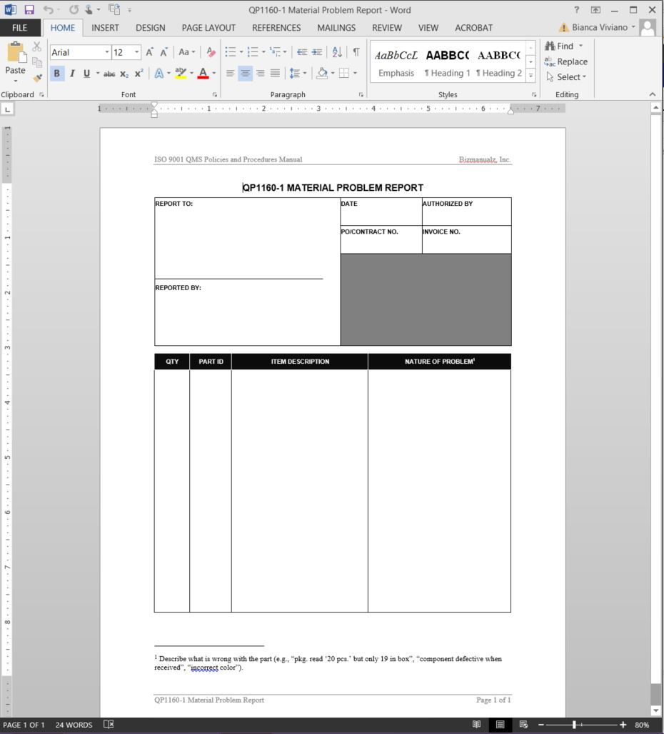 Material Problem Report Iso Template Qp1160 1 With Software Problem Report Template Best Sample Templ Best Templates Report Template Professional Templates