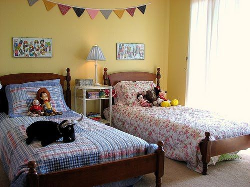 Charming And Playful Kid Spaces: 20 Shared Bedroom Ideas: Yellow Wall Blue Boys  Bed Flower Girl Bed Part 34