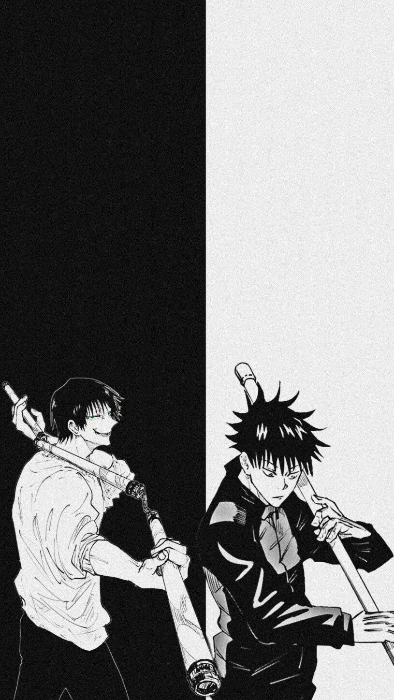 Fushiguro Toji And Fushiguro Megumi In 2021 Cute Cartoon Wallpapers Cool Anime Wallpapers Black And White Wallpaper Iphone Anime boy black and white wallpaper