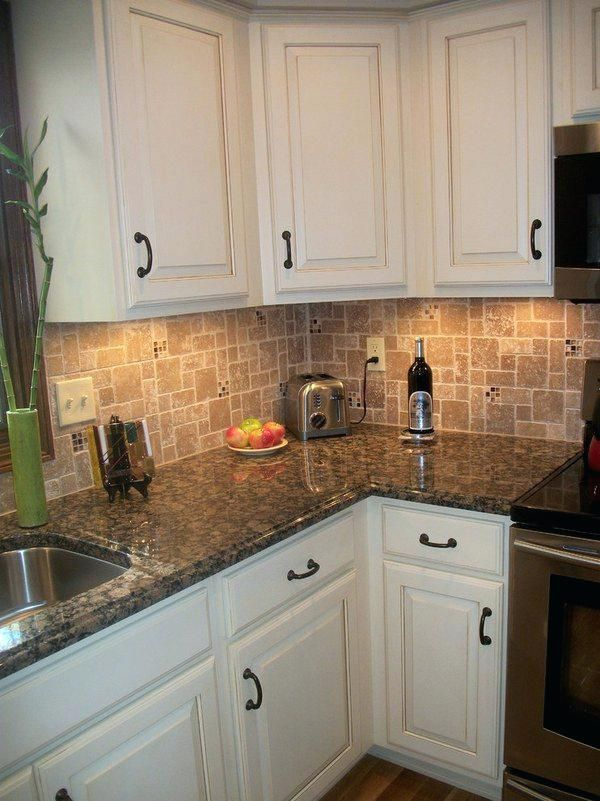 Cream Colored Kitchen Cabinets With White Appliances White Kitchen Cabinets  Baltic Brown Granite Countertop Tile Backsplash