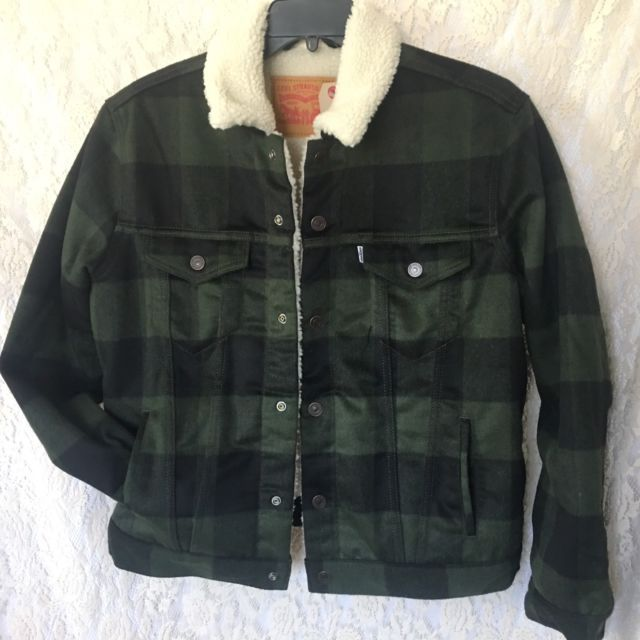 Levis Sherpa Lined Wool Blend Green Plaid Jacket Trucker Snap Front