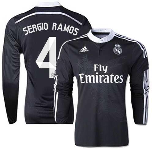 d483022c0 Men s Adidas Real Madrid  4 Sergio Ramos Replica Long Sleeve Shirt 14 15  Spain Futbol Club Black Third Away Soccer Jersey