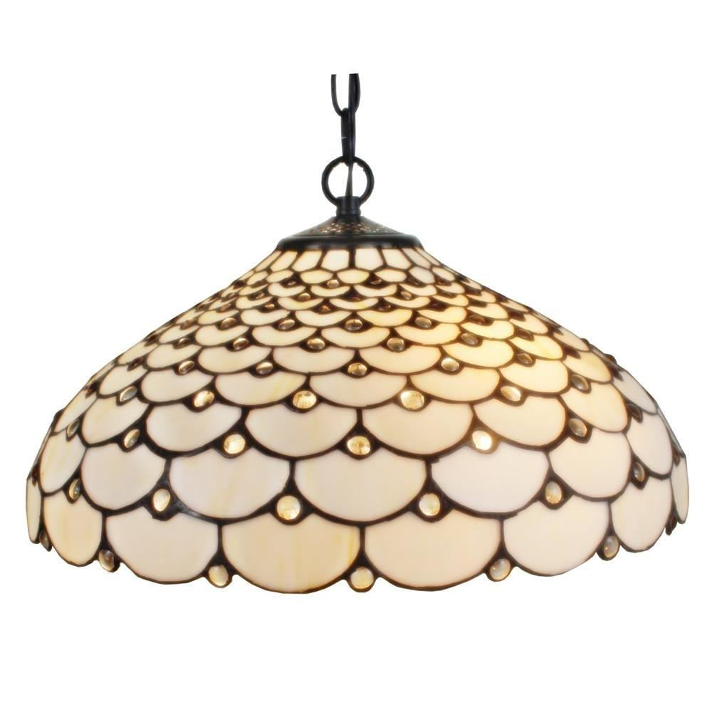 Amora Lighting Tiffany Style 18 In 2 Light Jeweled Hanging