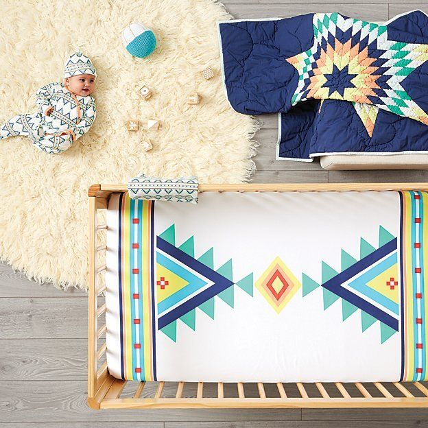 B. Yellowtail, a collective that features art by Native American makers primarily from the Great Plains tribal regions, made this sheet exclusively for us. All of their pieces are handmade using time-honored techniques and traditional methods passed down from family generations.