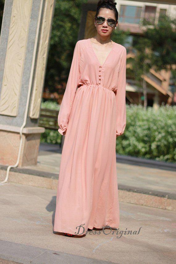 e9cd77a3cb 2018 Nude pink maxi dress holiday dress tunic summer dresses long beach  dress elegant evening dress