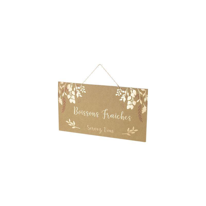 Pancarte Kraft Boissons fraîches 47 cm - Naturel - ARTIFÊTES #boissonsfraîches