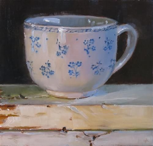 """Daily Paintworks - """"Tea Cup with Little Blue Flowe..."""" by Gabel Karsten"""