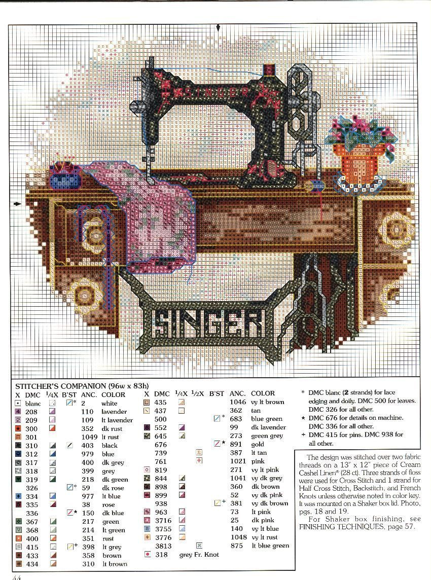 Vintage Singer sewing machine free cross stitch pattern | Embroidery ...