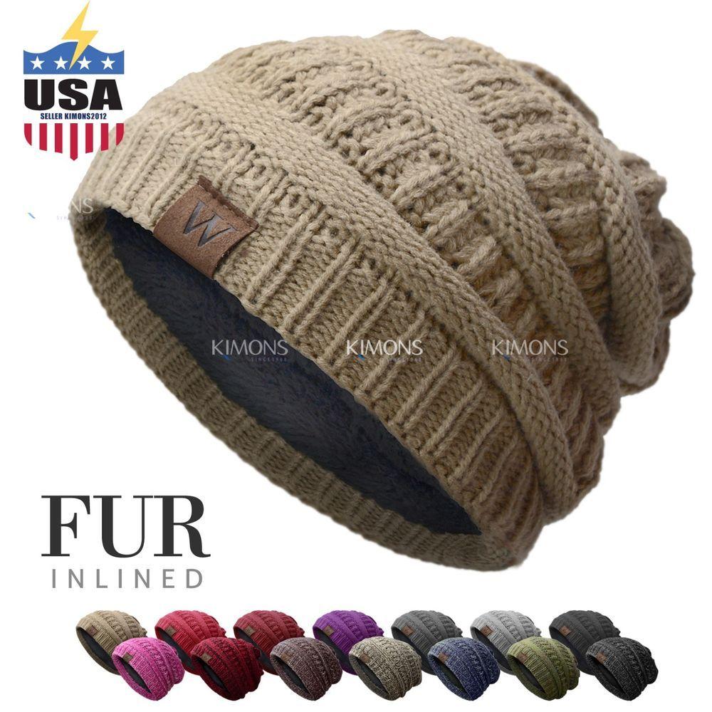 8e6fb2a2c6a W Knit Slouchy Baggy Beanie Oversize Winter Hat Ski Slouchy Cap Skull Women    8.99 End