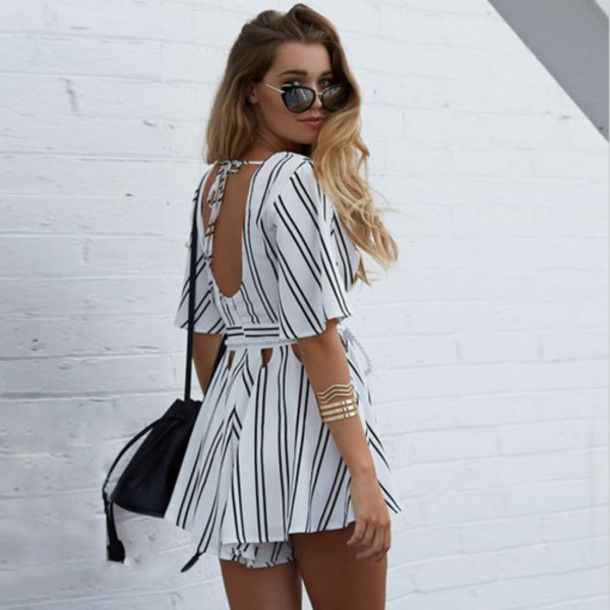 Jumpsuit Romper Showpo Cute Summer Dress White Stripes