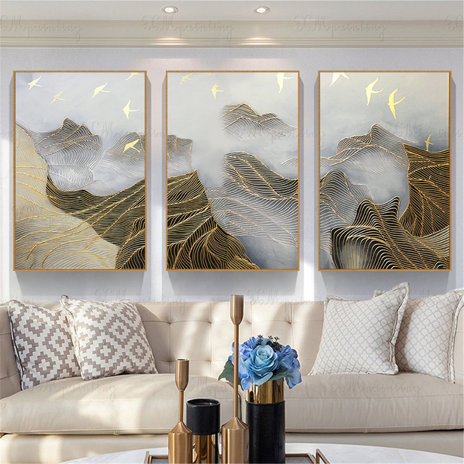 3 Pieces Gold Lines Abstract Painting Canvas Wall Art Picture Etsy Wall Canvas Abstract Canvas Painting Wall Art Pictures