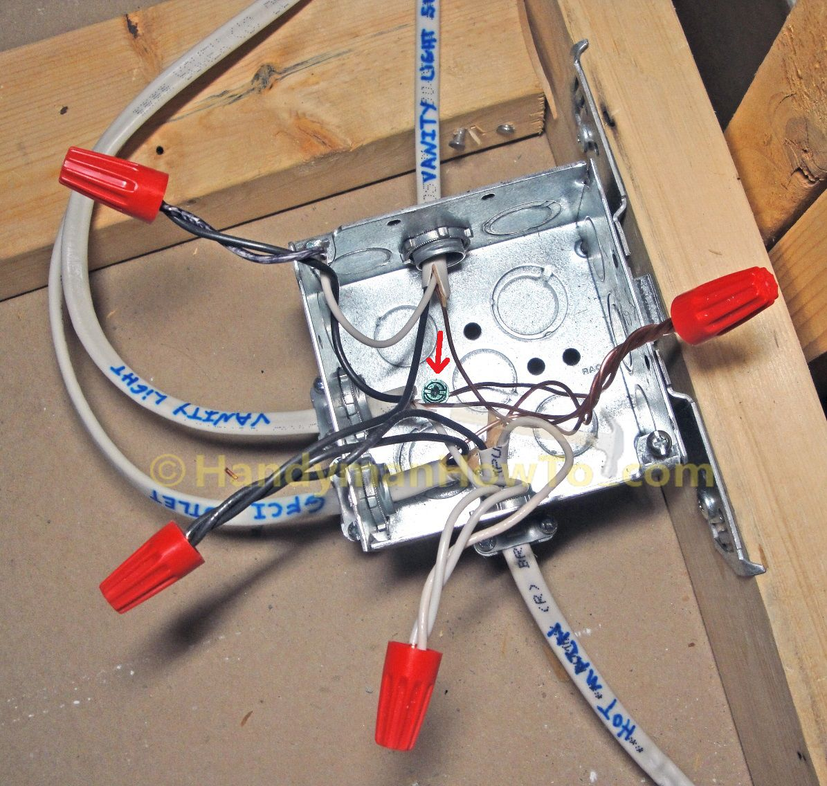 Metal square junction box with cover and mounting bracket. Description from handymanhowto.com. I ...
