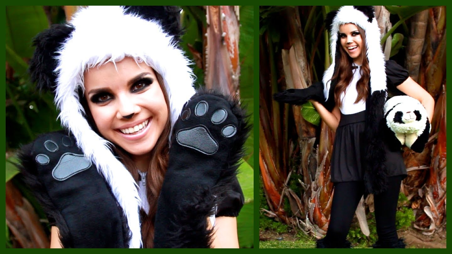 cute cuddly panda look makeup hair and costume miss