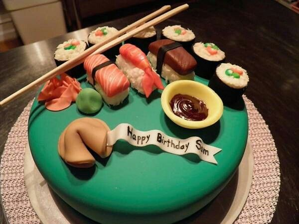 Phenomenal Sushi Birthday Cake With Images Sushi Cake Sushi Personalised Birthday Cards Veneteletsinfo