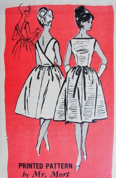 1960s Lovely Back Wrap Dress Pattern PROMINENT DESIGNER A586 Mr Mort Design Bateau Neckline V Back Full Skirted Day or Party Dress  Bust 30 Vintage Sewing Pattern