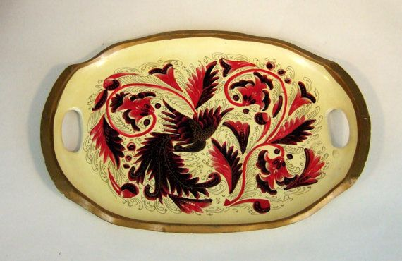 VINTAGE hand painted WOODEN tray of a BIRD by jennyelkins on Etsy