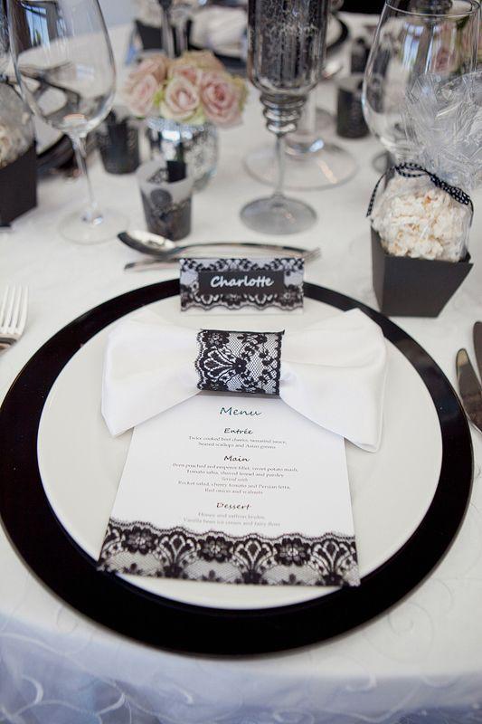black lace wedding table napkin rings menu place cards rh pinterest com