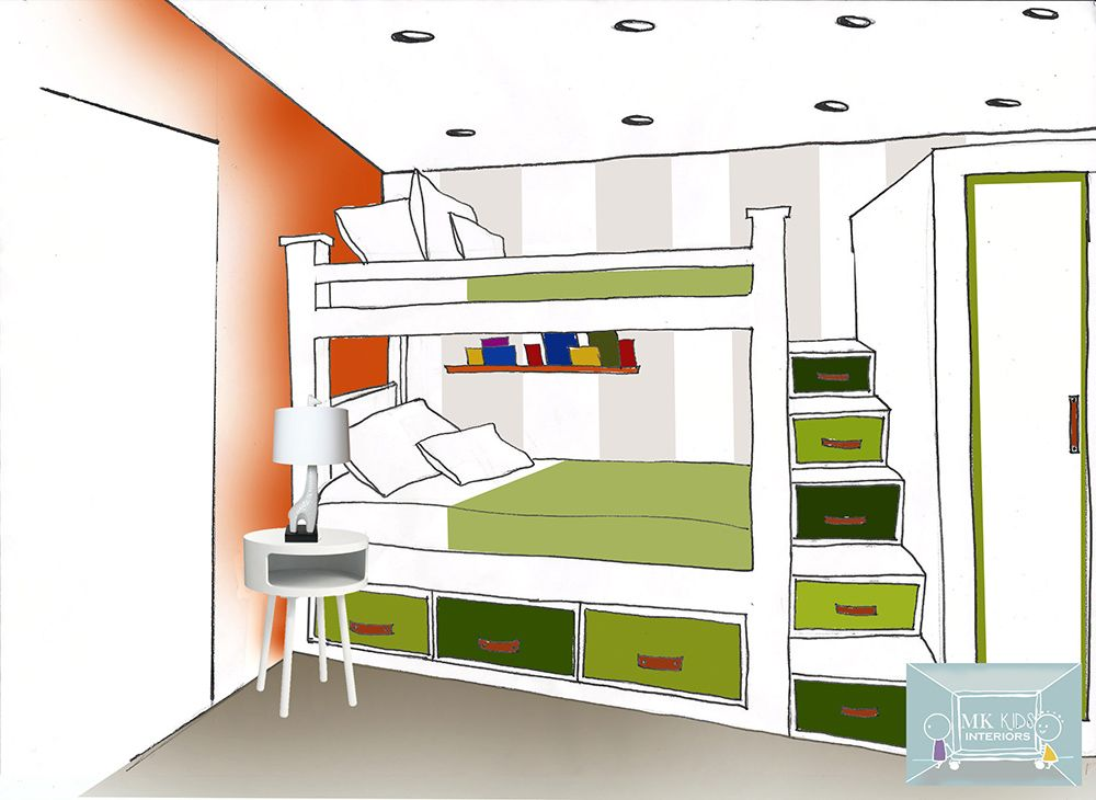 Hand Drawing Of A Toddlers Bunk Bed With Step Drawers