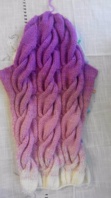 градиент из кос кардиган спицами Knits вязание ручное вязание